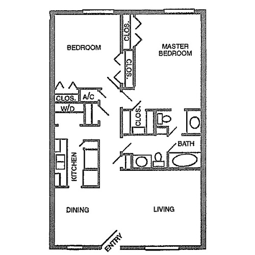1,030 sq. ft. C floor plan
