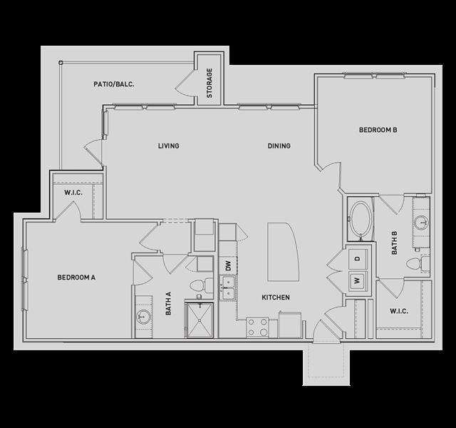 1,189 sq. ft. B4-B floor plan