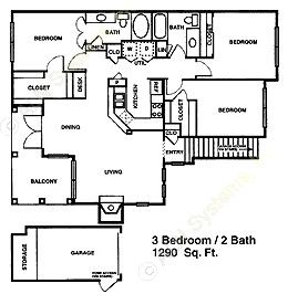 1,287 sq. ft. C1 floor plan