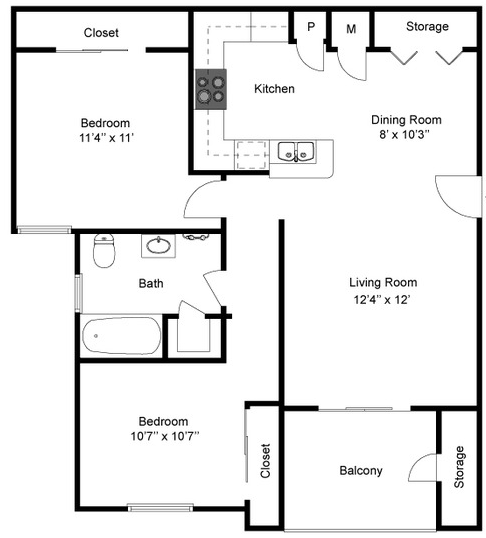 864 sq. ft. B/Mkt floor plan