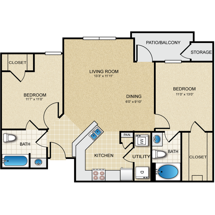 986 sq. ft. Bellaire floor plan