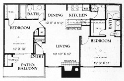 883 sq. ft. B1 50% floor plan