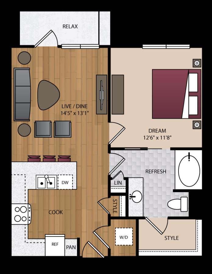 710 sq. ft. P-A1 floor plan