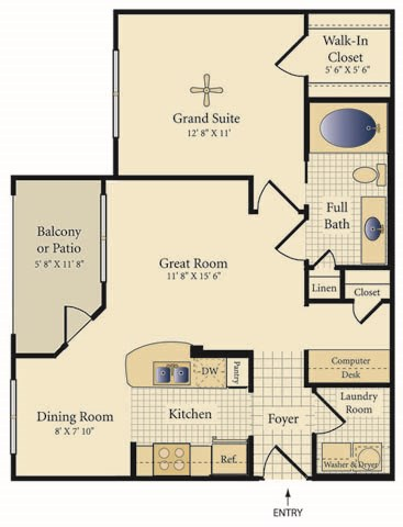 693 sq. ft. Sedona floor plan