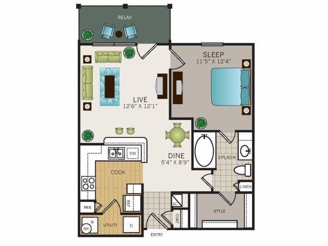 676 sq. ft. A1 floor plan