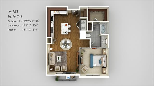 741 sq. ft. 1A Alt floor plan