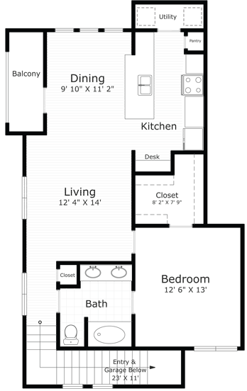 882 sq. ft. Providence floor plan