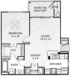 622 sq. ft. Comal - A1 floor plan