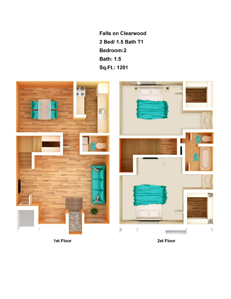 1,201 sq. ft. B1 floor plan