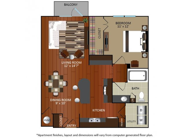 806 sq. ft. A1A floor plan