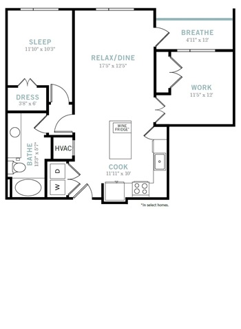 883 sq. ft. A7 floor plan