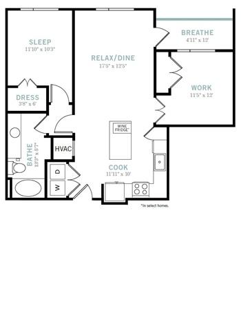 883 sq. ft. A7 floor plan