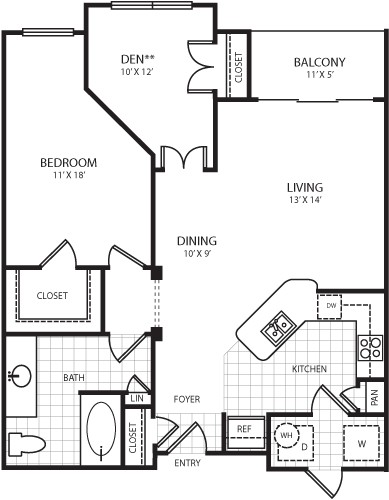 925 sq. ft. A8 floor plan