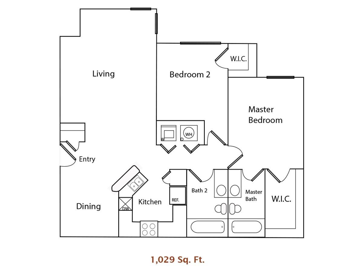 1,029 sq. ft. 60% floor plan