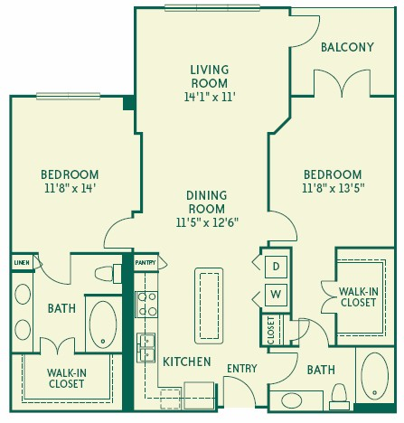 1,180 sq. ft. B1 floor plan
