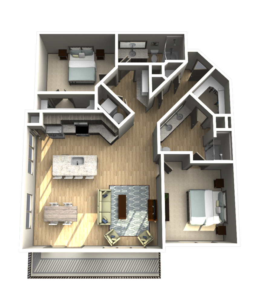 1,319 sq. ft. B6 floor plan