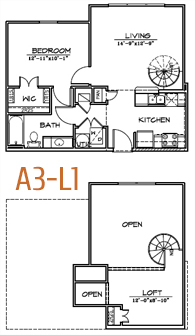 743 sq. ft. floor plan