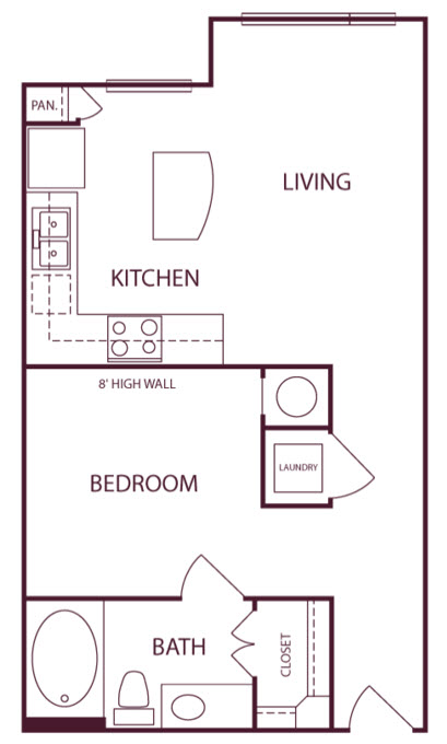 593 sq. ft. A1A floor plan