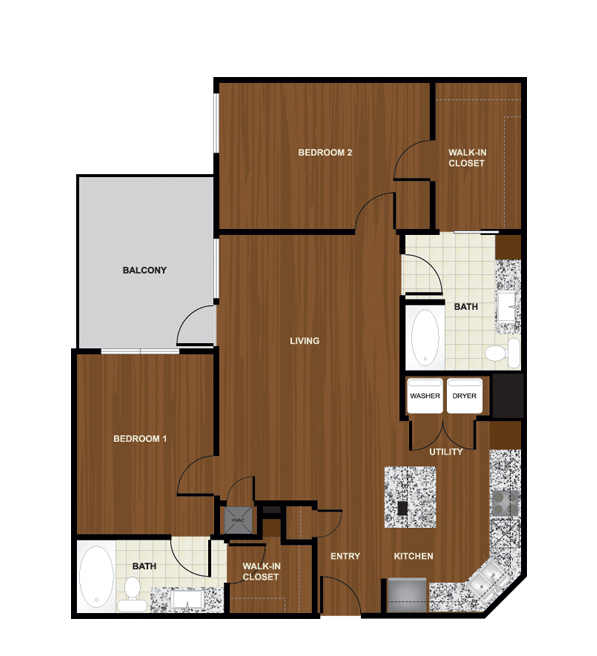 1,148 sq. ft. B4 floor plan