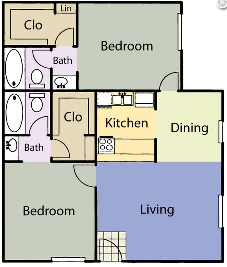 844 sq. ft. B2A/MAGNOLIA floor plan