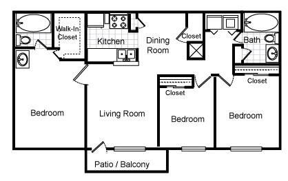1,150 sq. ft. Iris floor plan