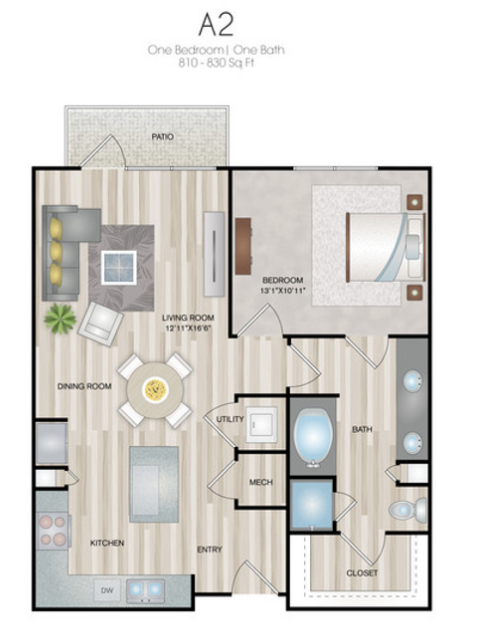 810 sq. ft. to 830 sq. ft. A2 floor plan
