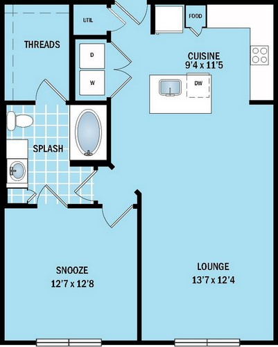 738 sq. ft. to 813 sq. ft. A4 floor plan