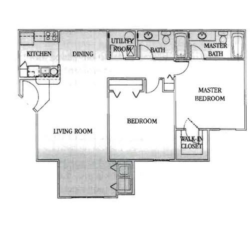 1,093 sq. ft. 30% floor plan