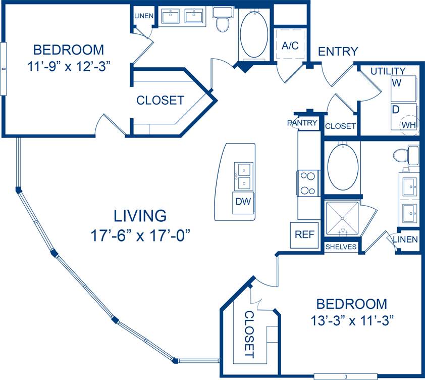 1,221 sq. ft. Sunflower floor plan
