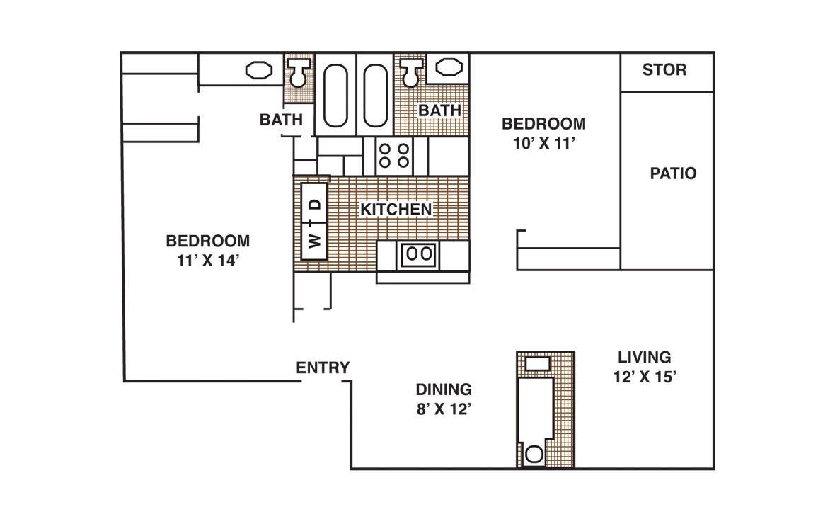 942 sq. ft. B2 floor plan