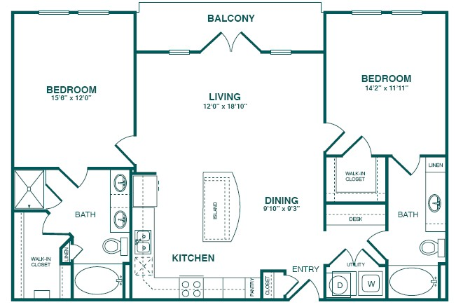 1,298 sq. ft. C3S floor plan