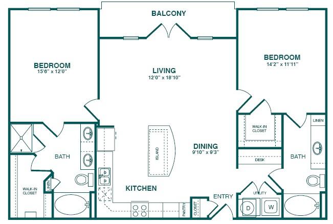 1,298 sq. ft. C3S floor plan