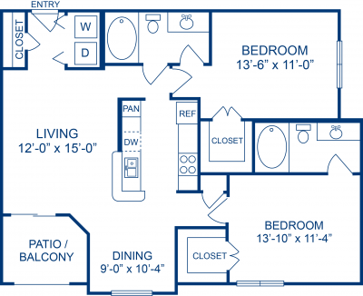 1,019 sq. ft. D floor plan