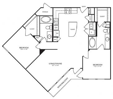 1,094 sq. ft. B4 floor plan
