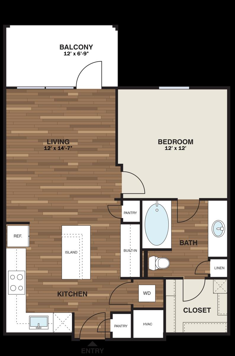 693 sq. ft. A2G floor plan