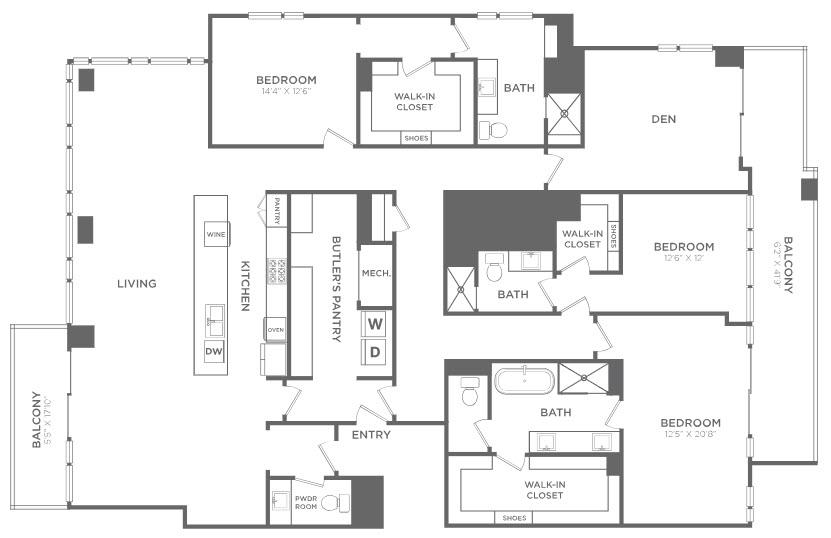 3,300 sq. ft. PH12 floor plan