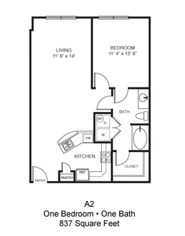 837 sq. ft. Plano floor plan