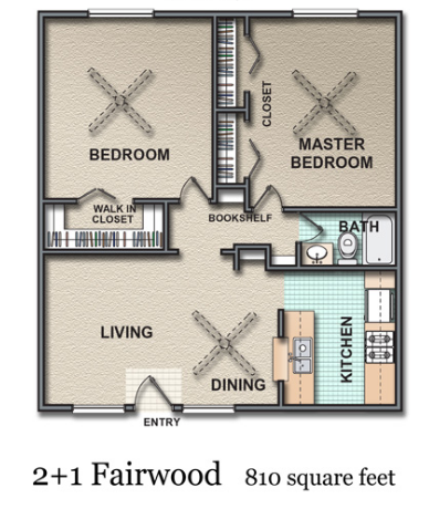 810 sq. ft. Fairwood floor plan
