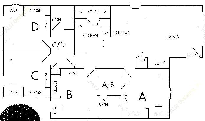 1,115 sq. ft. D1 floor plan
