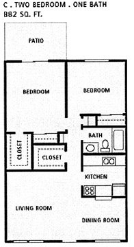 882 sq. ft. C floor plan