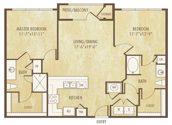 1,107 sq. ft. to 1,126 sq. ft. B2A floor plan