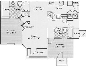 1,124 sq. ft. Mimosa floor plan