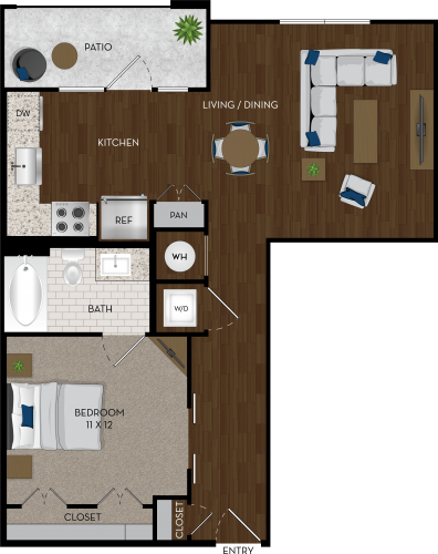 735 sq. ft. E1 floor plan
