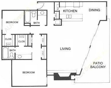 1,218 sq. ft. B5 floor plan