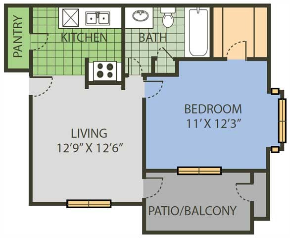 542 sq. ft. Net floor plan