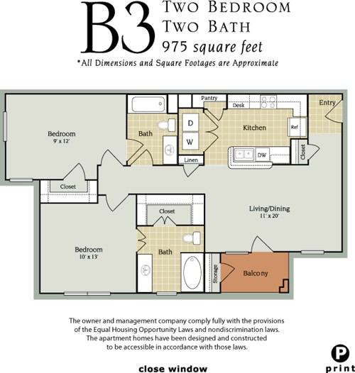 975 sq. ft. B3/60 floor plan
