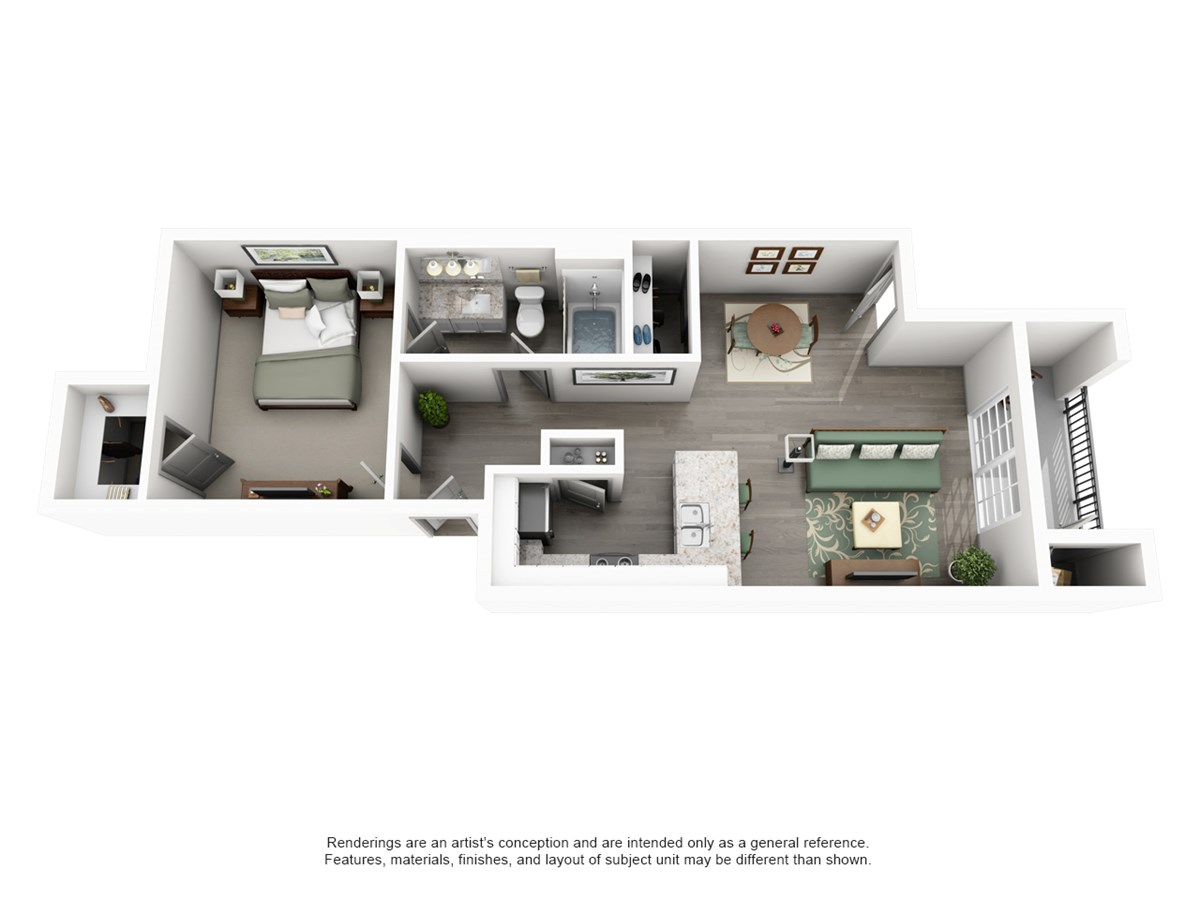 675 sq. ft. Bluff floor plan