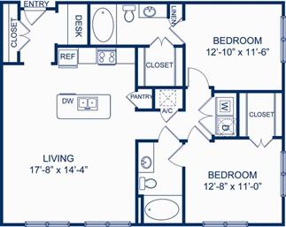 1,130 sq. ft. B1 floor plan