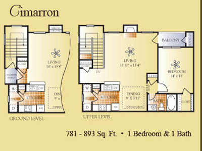 781 sq. ft. to 893 sq. ft. Cimarron floor plan