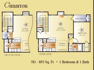 781 sq. ft. to 893 sq. ft. Cimarron floor plan
